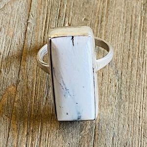 Eleanor Largo White Buffalo Sterling Ring Size 7.5